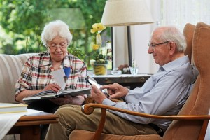 Senior couple, reading