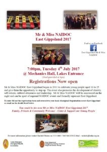 Mr & Miss NAIDOC East Gippsland 2017 Flyer