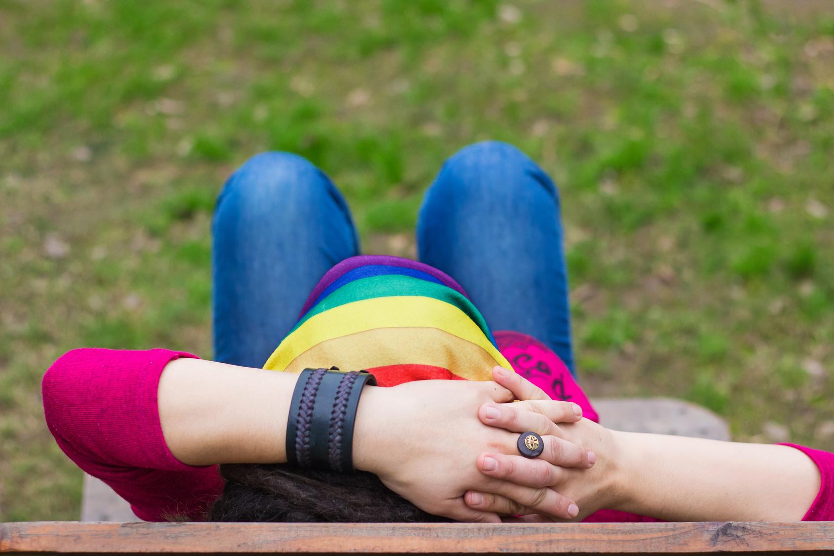 woman with a rainbown bandanna
