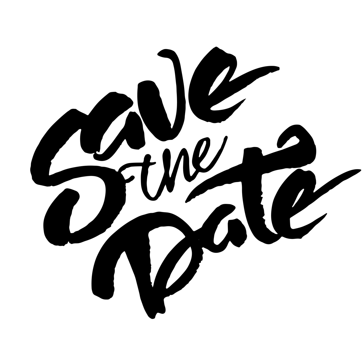 'Save the date' phrase for wedding invitation cards. Brush hand painted with black ink.